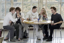 The Cullen gang in the Forks High School cafeteria