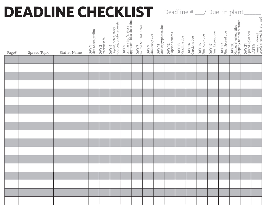 Mini-Deadline Checklist