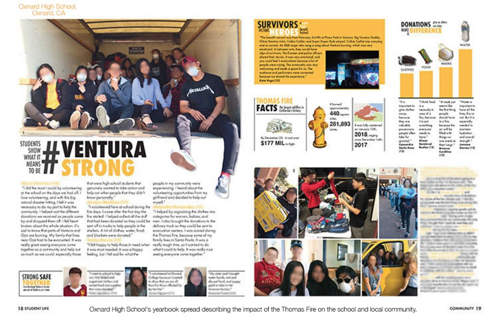 Yearbook spread from Oxnard High School in Oxnard, CA depicting their coverage of the Thomas Fire. There are many photos across the two pages and text includes personal stories, student quotes and two  infographics displaying statistics about the fire and the types of donations that came to the school.